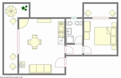 Pianta Appartamento Bilocale Casa Orchidea a Torri del Benaco